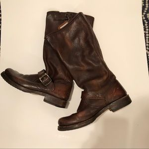 Frye Veronica distressed Moto boots